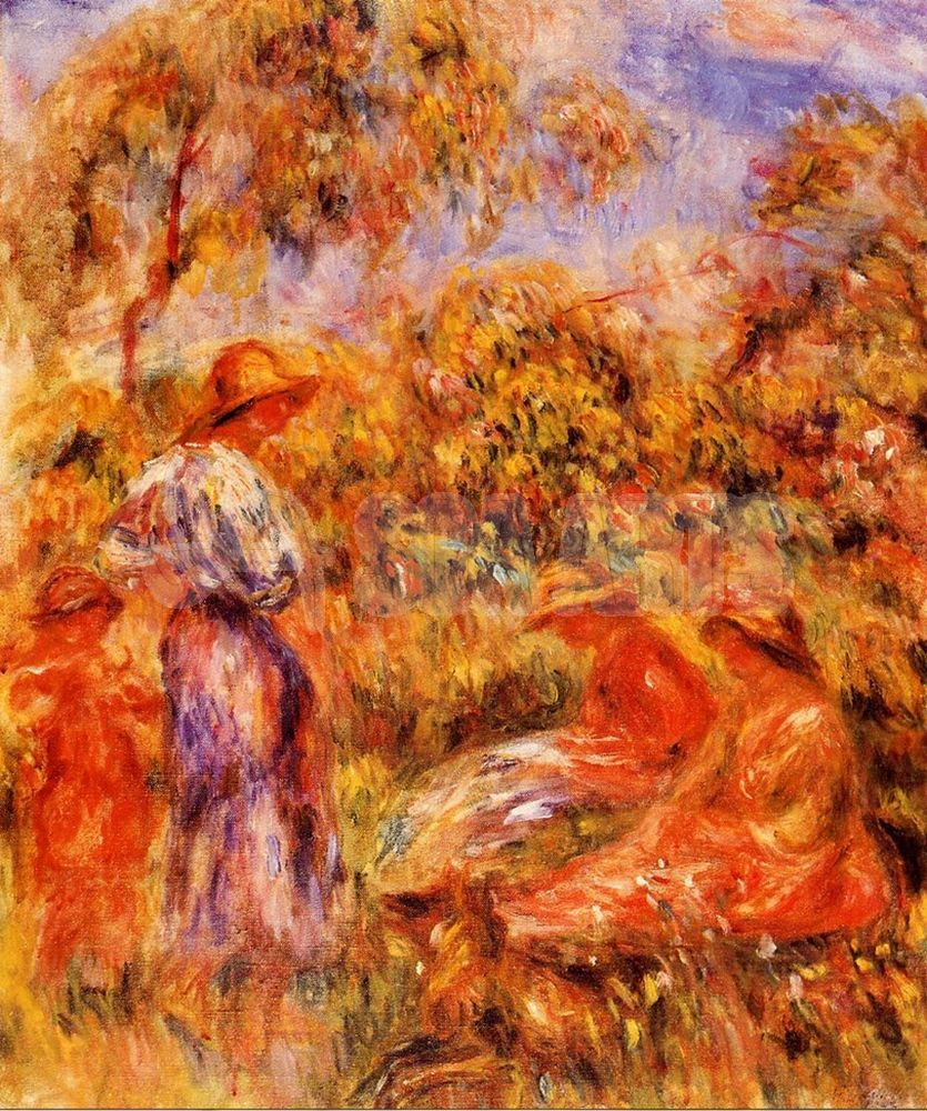 Naked young woman in landscape. - Pierre-Auguste Renoir as