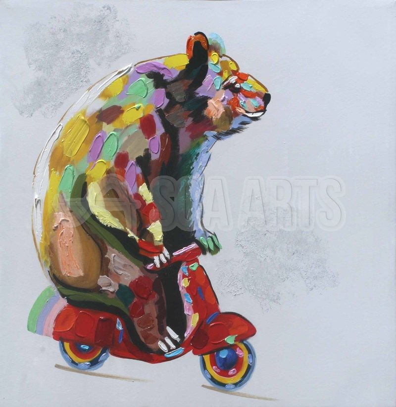 Colorful Bear Riding Scooter Animal Oil Painting For Sale