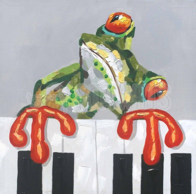 Frog Playing Piano Animal Oil Painting For Sale